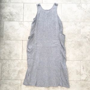 Vintage Flax chambray lagenlook jumper maxi dress